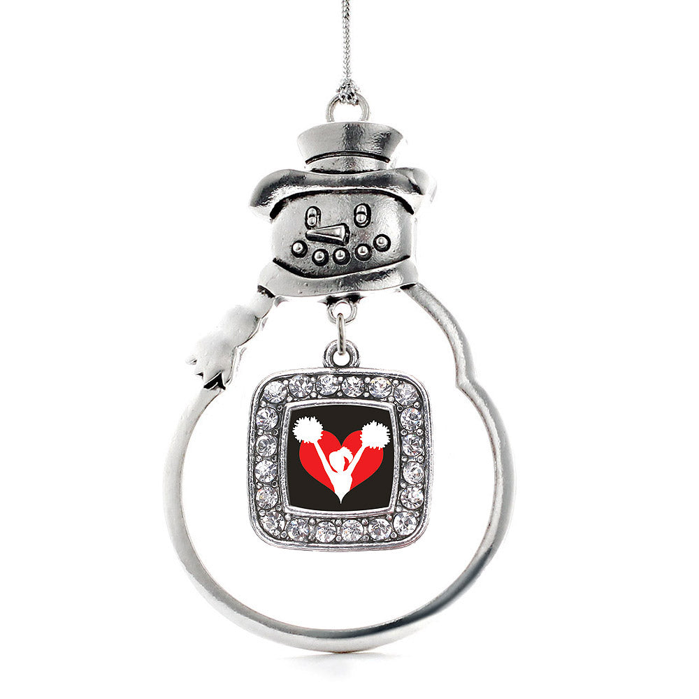 I Heart Cheering Square Charm Christmas / Holiday Ornament