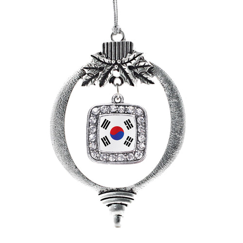 Republic of Korea Flag Square Charm Christmas / Holiday Ornament