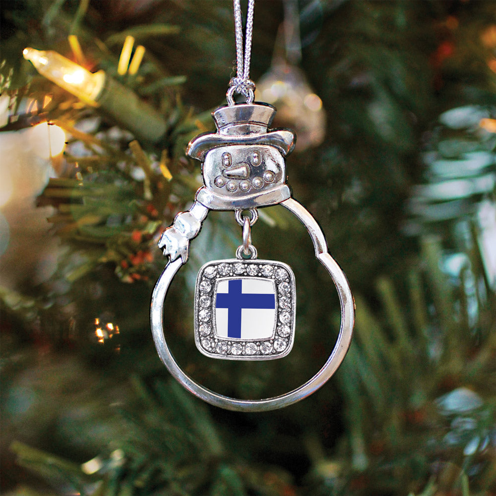 Finland Flag Square Charm Christmas / Holiday Ornament