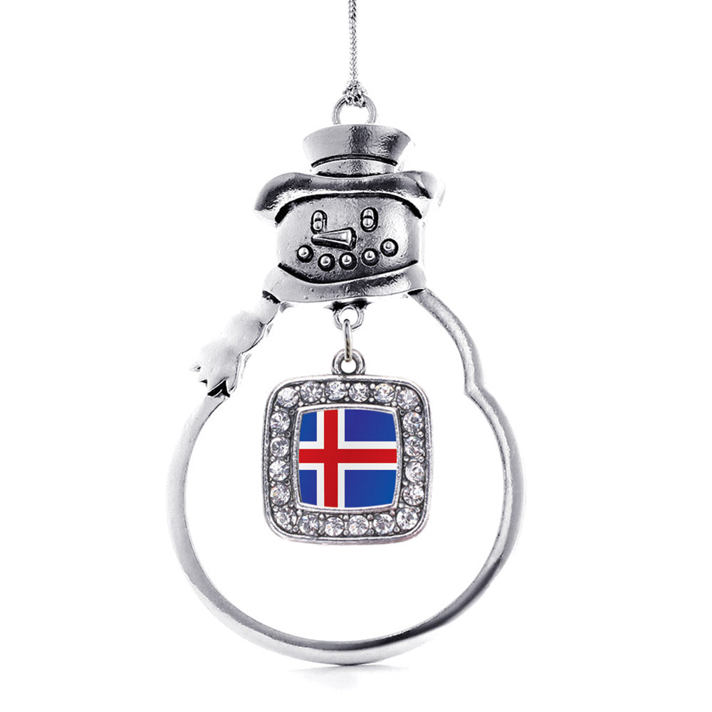 Iceland Flag Square Charm Christmas / Holiday Ornament