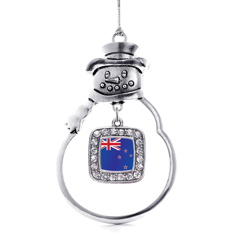 New Zealand Flag Square Charm Christmas / Holiday Ornament