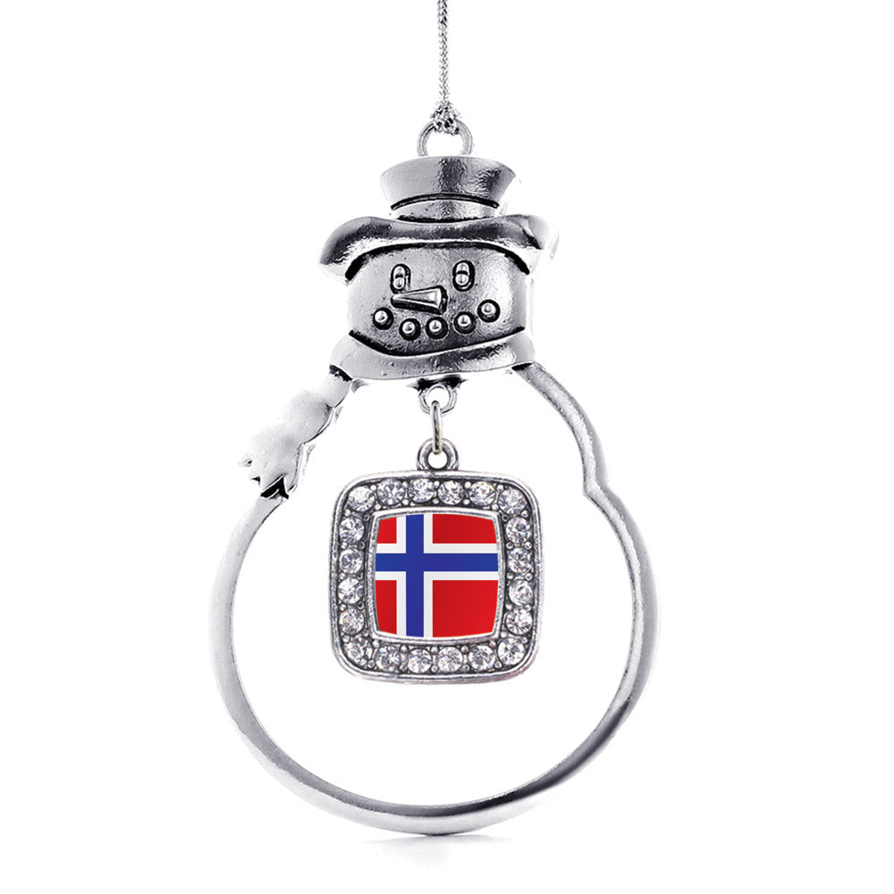 Norway Flag Square Charm Christmas / Holiday Ornament