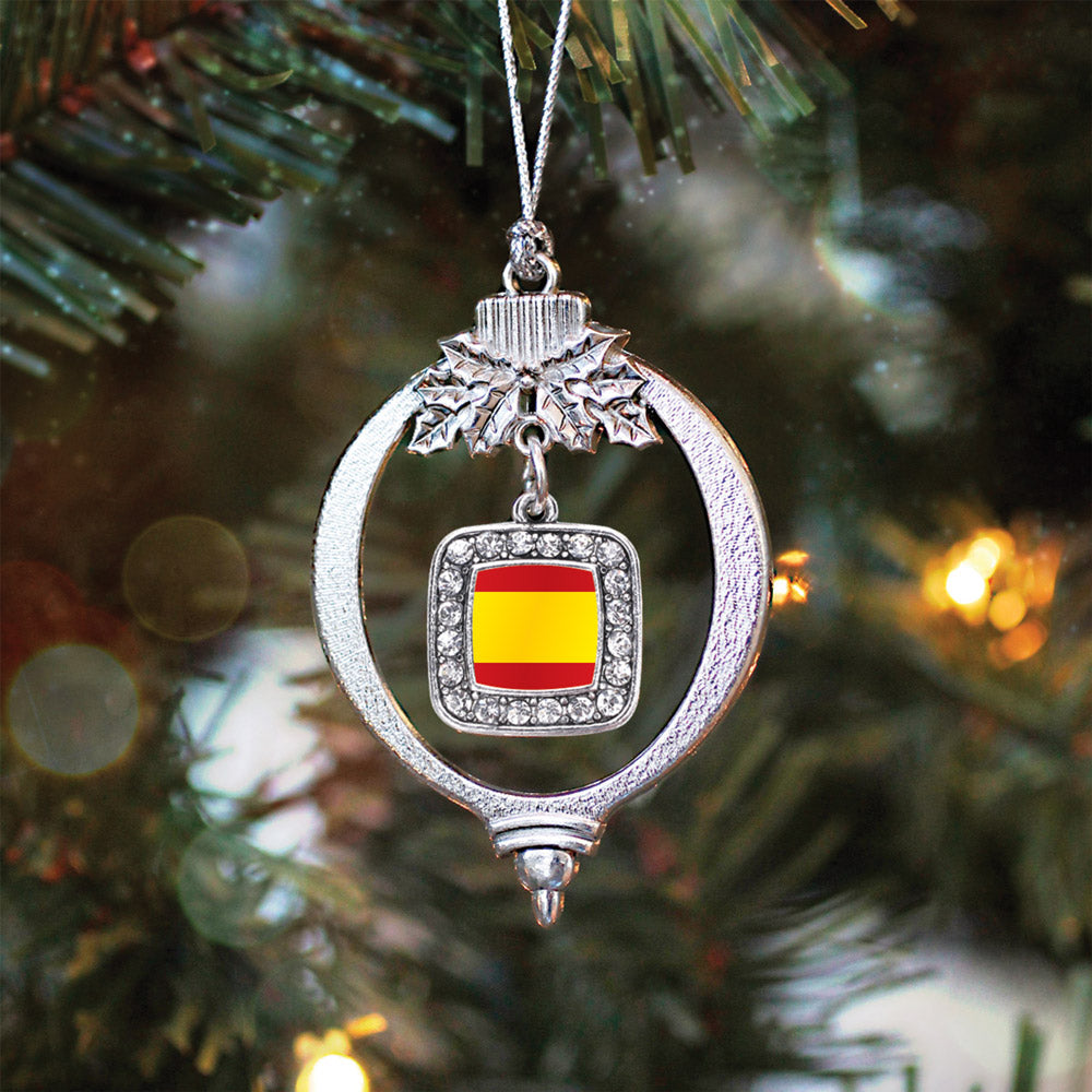 Spain Flag Square Charm Christmas / Holiday Ornament