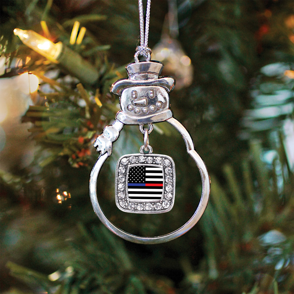 Thin Blue Line and Thin Red Line American Flag Square Charm Christmas / Holiday Ornament