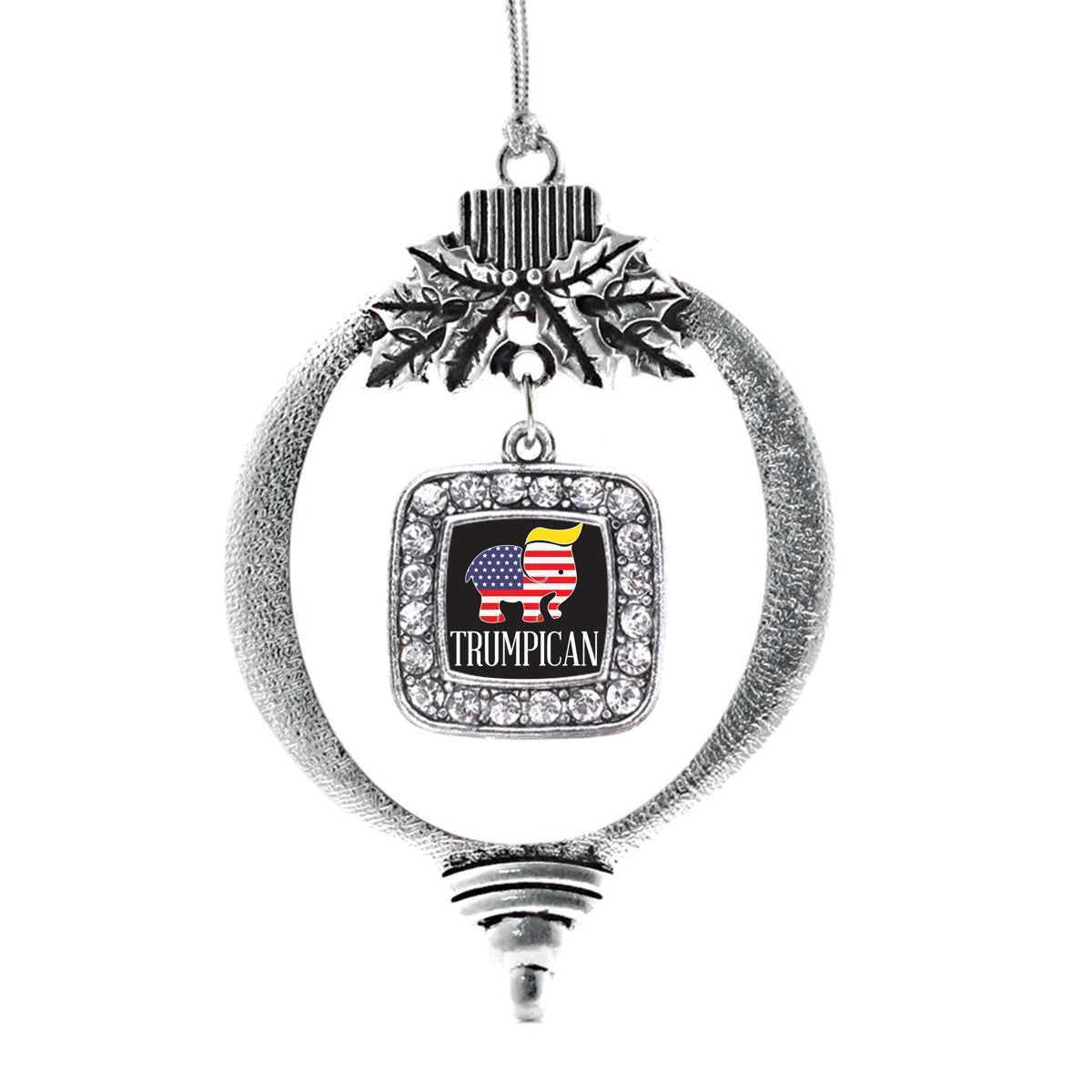 Trumpican Square Charm Christmas / Holiday Ornament