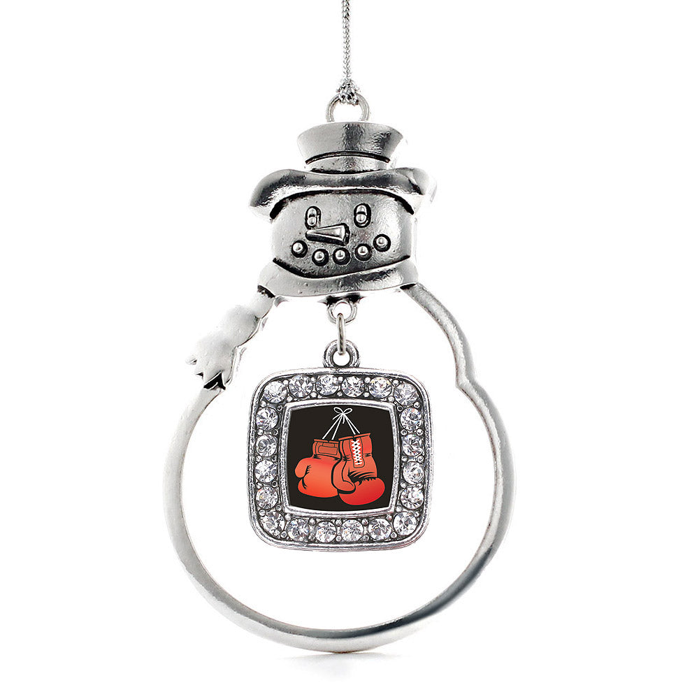 I Love Boxing Square Charm Christmas / Holiday Ornament