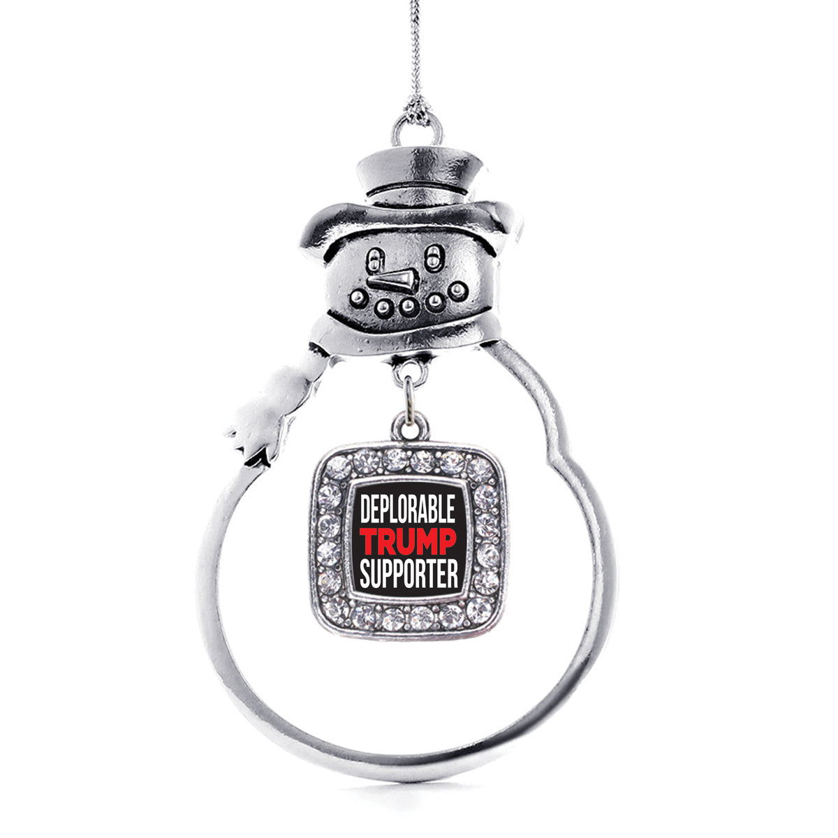 Deplorable Trump Supporter Square Charm Christmas / Holiday Ornament
