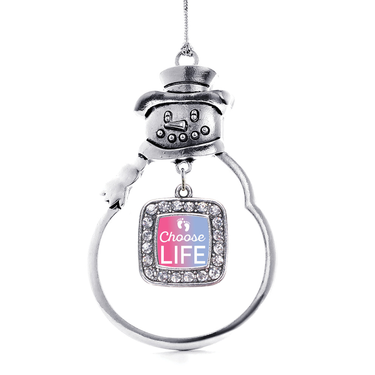 Choose Life Square Charm Christmas / Holiday Ornament