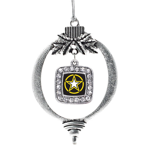 Army Star Square Charm Christmas / Holiday Ornament