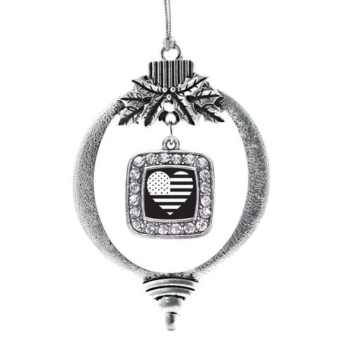 Black and White American Flag Square Charm Christmas / Holiday Ornament
