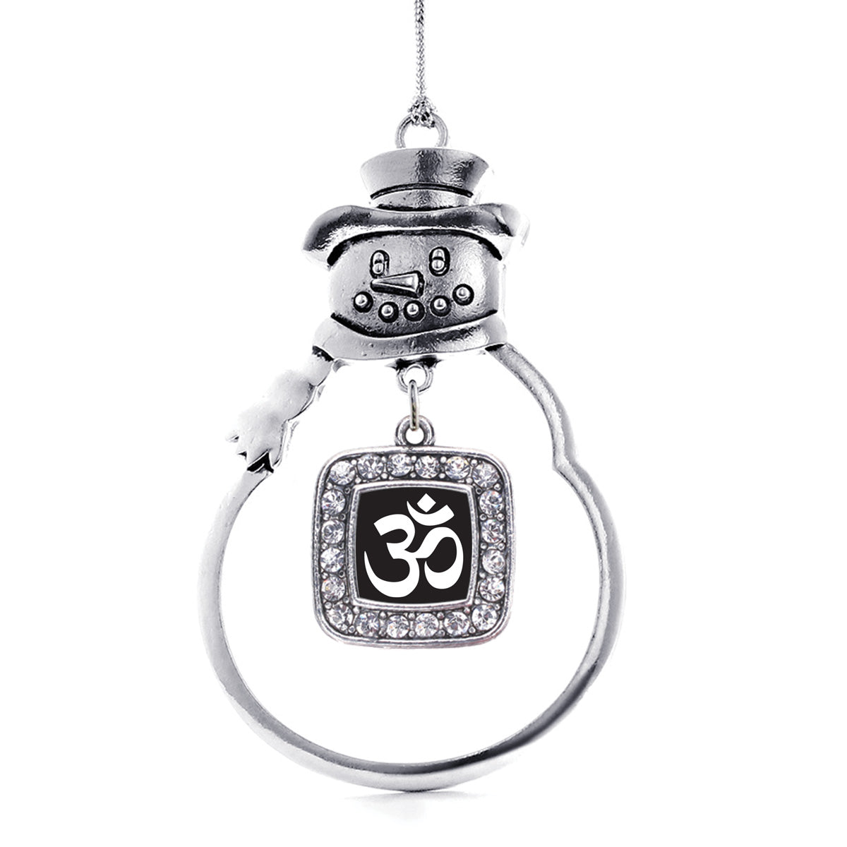 Black and Whit OM Yoga Square Charm Christmas / Holiday Ornament