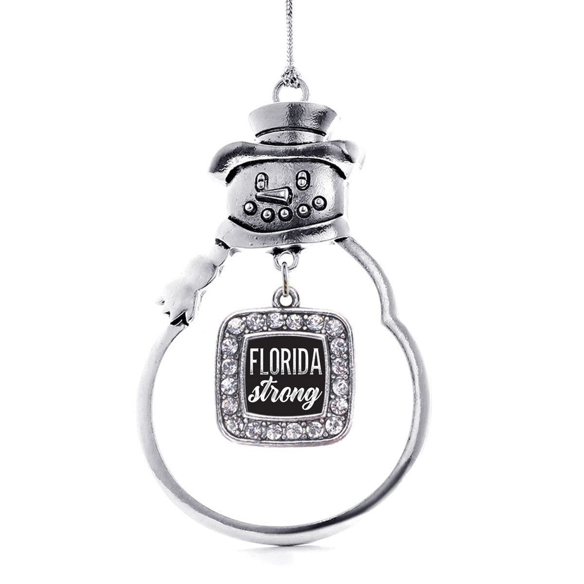 Script Florida Strong Square Charm Christmas / Holiday Ornament