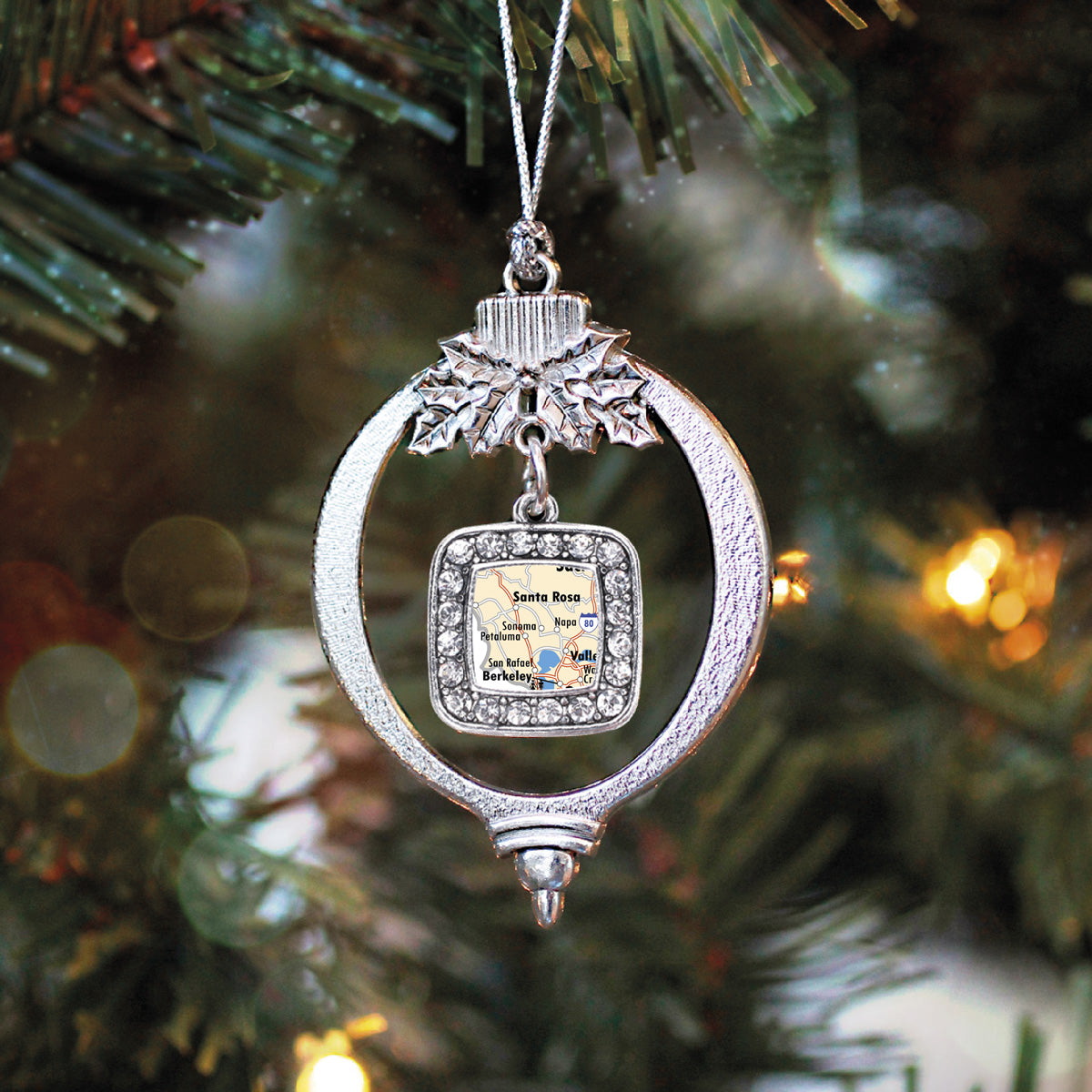 Sonoma Map Square Charm Christmas / Holiday Ornament