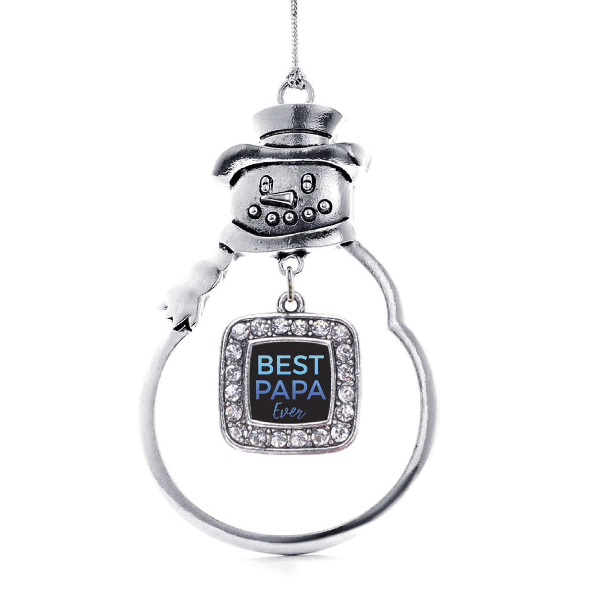 Best Papa Ever Square Charm Christmas / Holiday Ornament