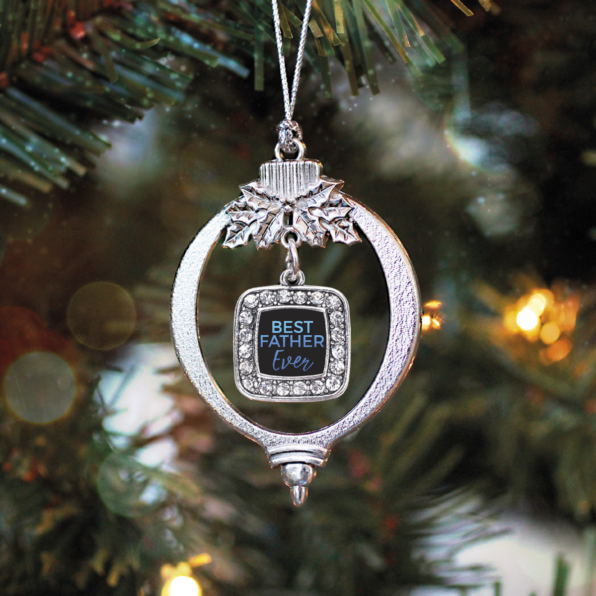 Best Father Ever Square Charm Christmas / Holiday Ornament