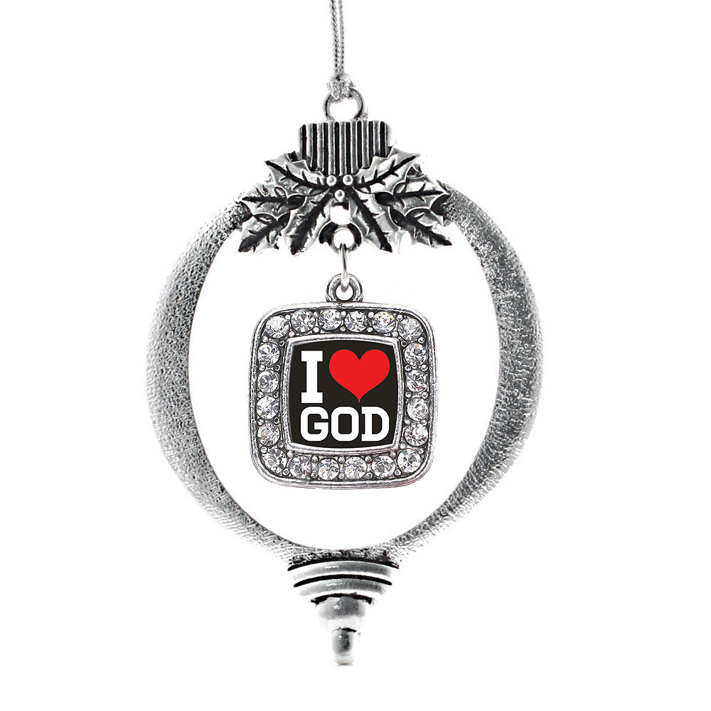 I Love God Square Charm Christmas / Holiday Ornament