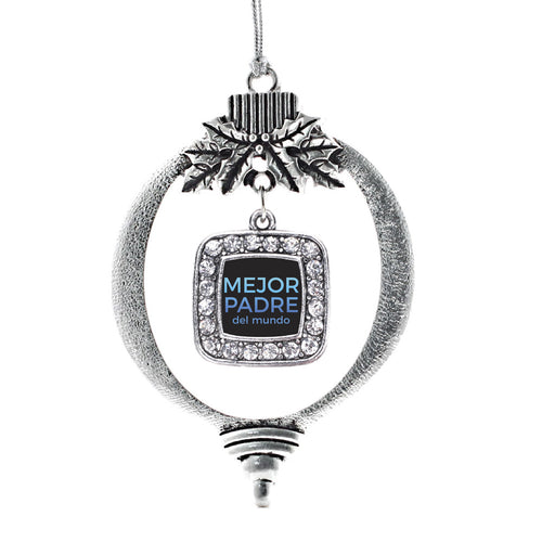 Mejor Padre Del Mundo Square Charm Christmas / Holiday Ornament
