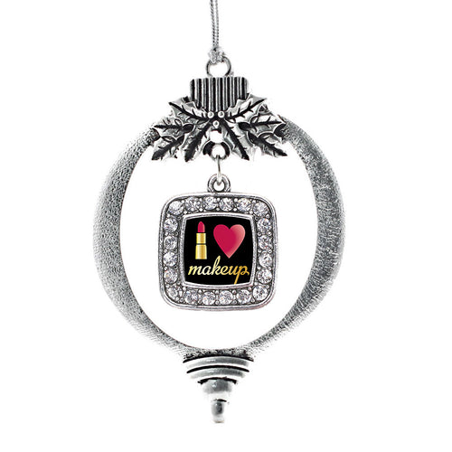 I Love Makeup Square Charm Christmas / Holiday Ornament
