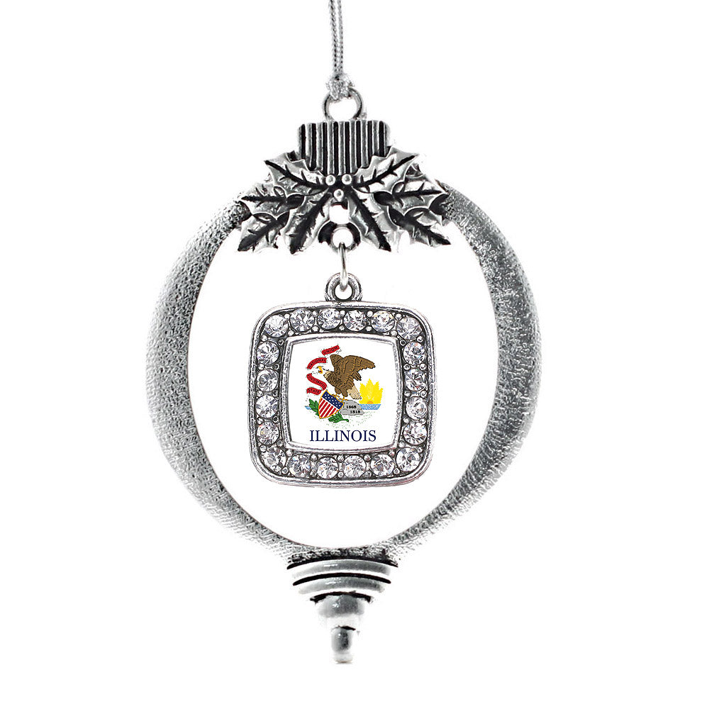 Illinois Flag Square Charm Christmas / Holiday Ornament