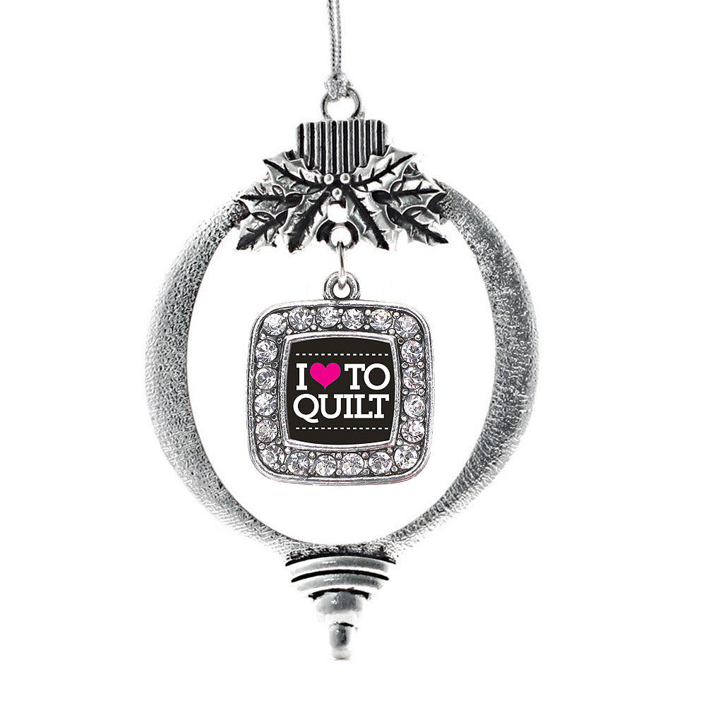 I Love to Quilt Square Charm Christmas / Holiday Ornament