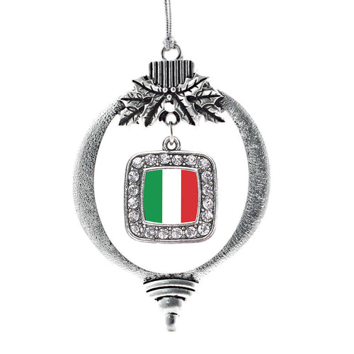 Italian Flag Square Charm Christmas / Holiday Ornament