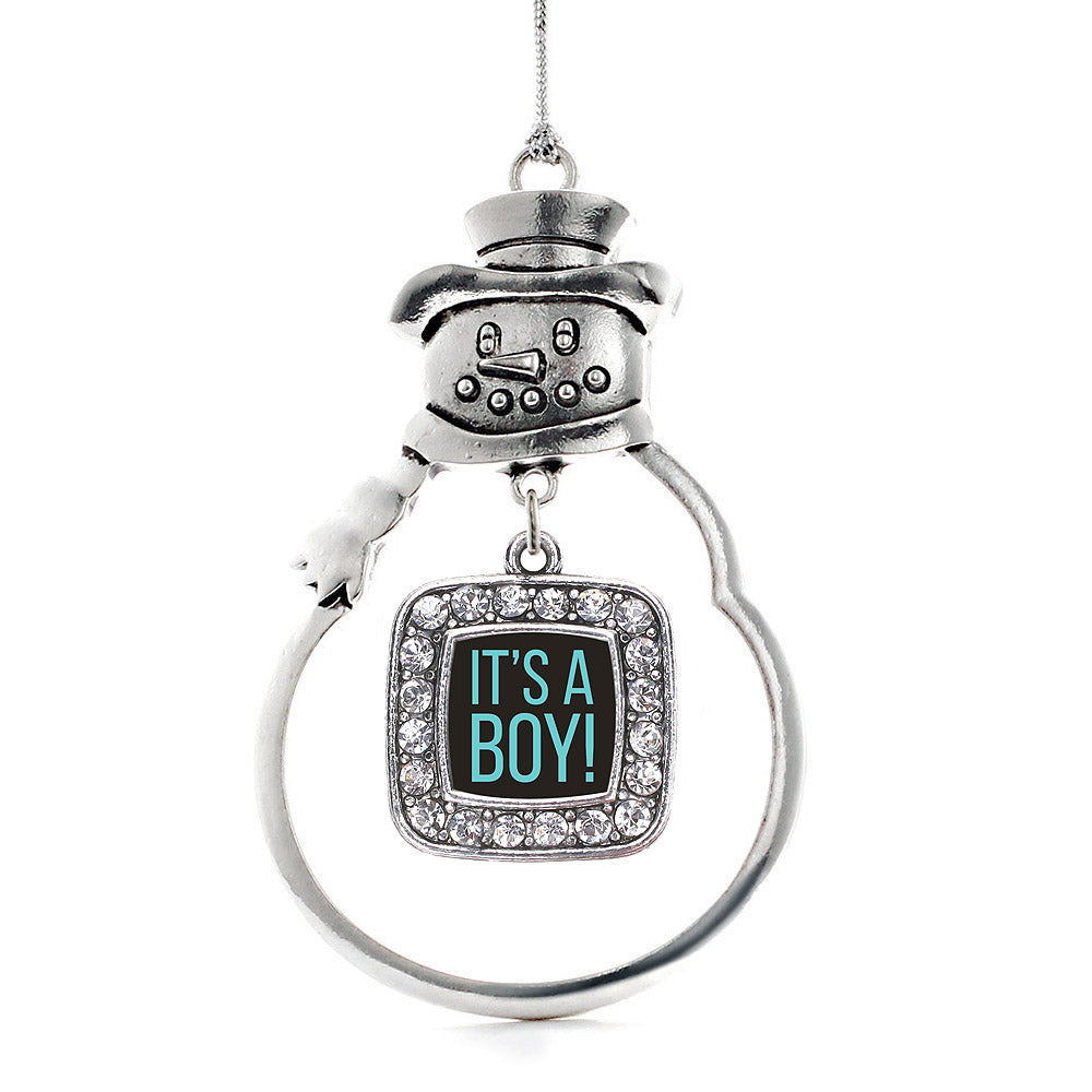 It's A Boy Square Charm Christmas / Holiday Ornament