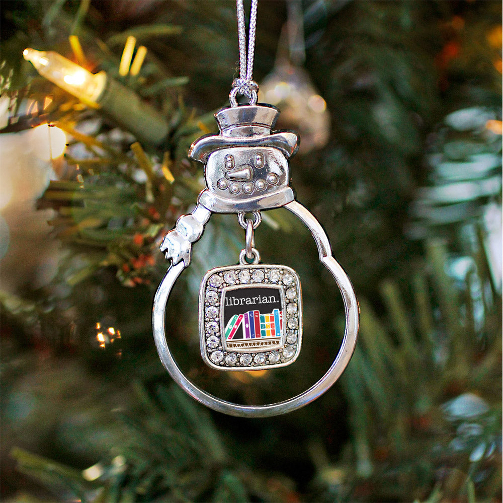 Librarian Square Charm Christmas / Holiday Ornament