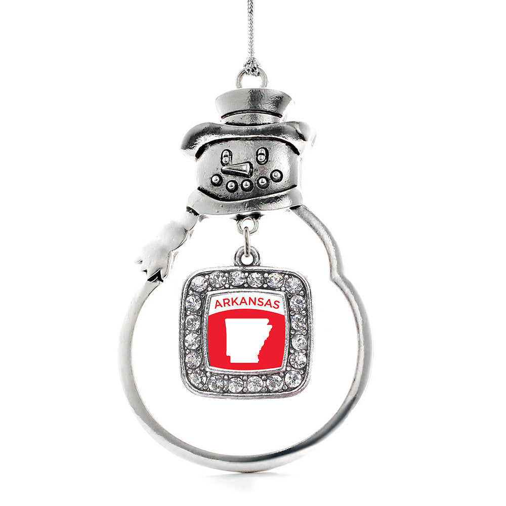 Arkansas Outline Square Charm Christmas / Holiday Ornament