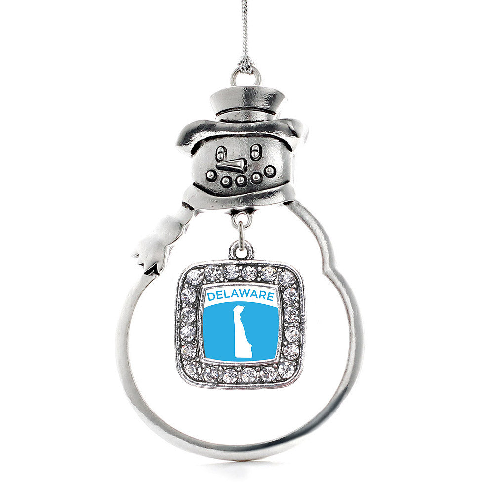 Delaware Outline Square Charm Christmas / Holiday Ornament