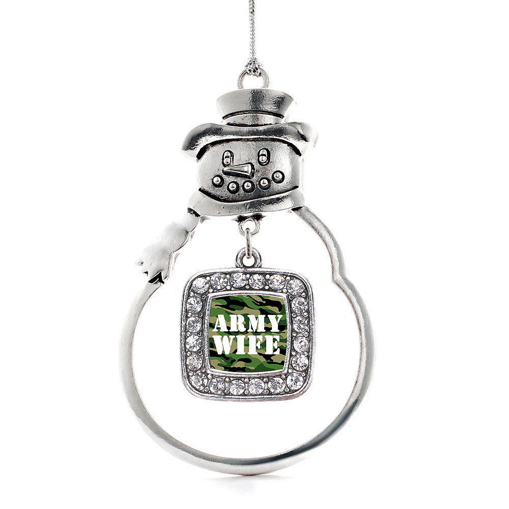 Army Wife Square Charm Christmas / Holiday Ornament