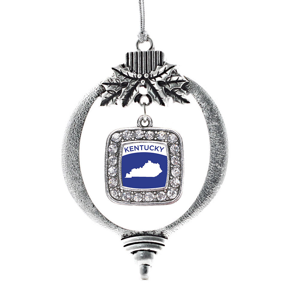 Kentucky Outline Square Charm Christmas / Holiday Ornament