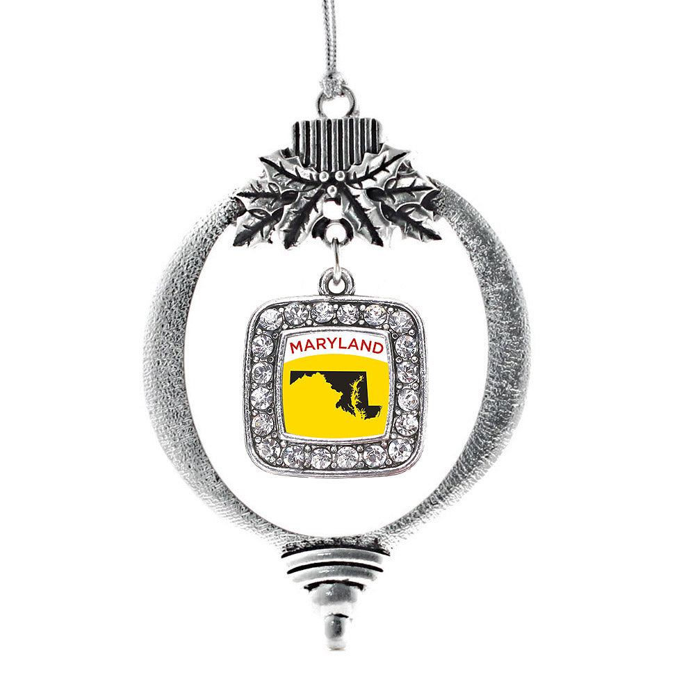 Maryland Outline Square Charm Christmas / Holiday Ornament
