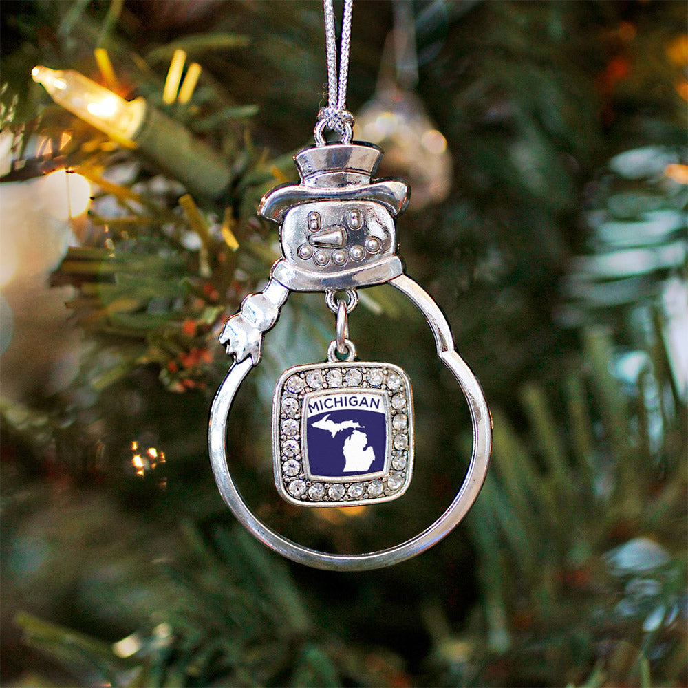 Michigan Outline Square Charm Christmas / Holiday Ornament