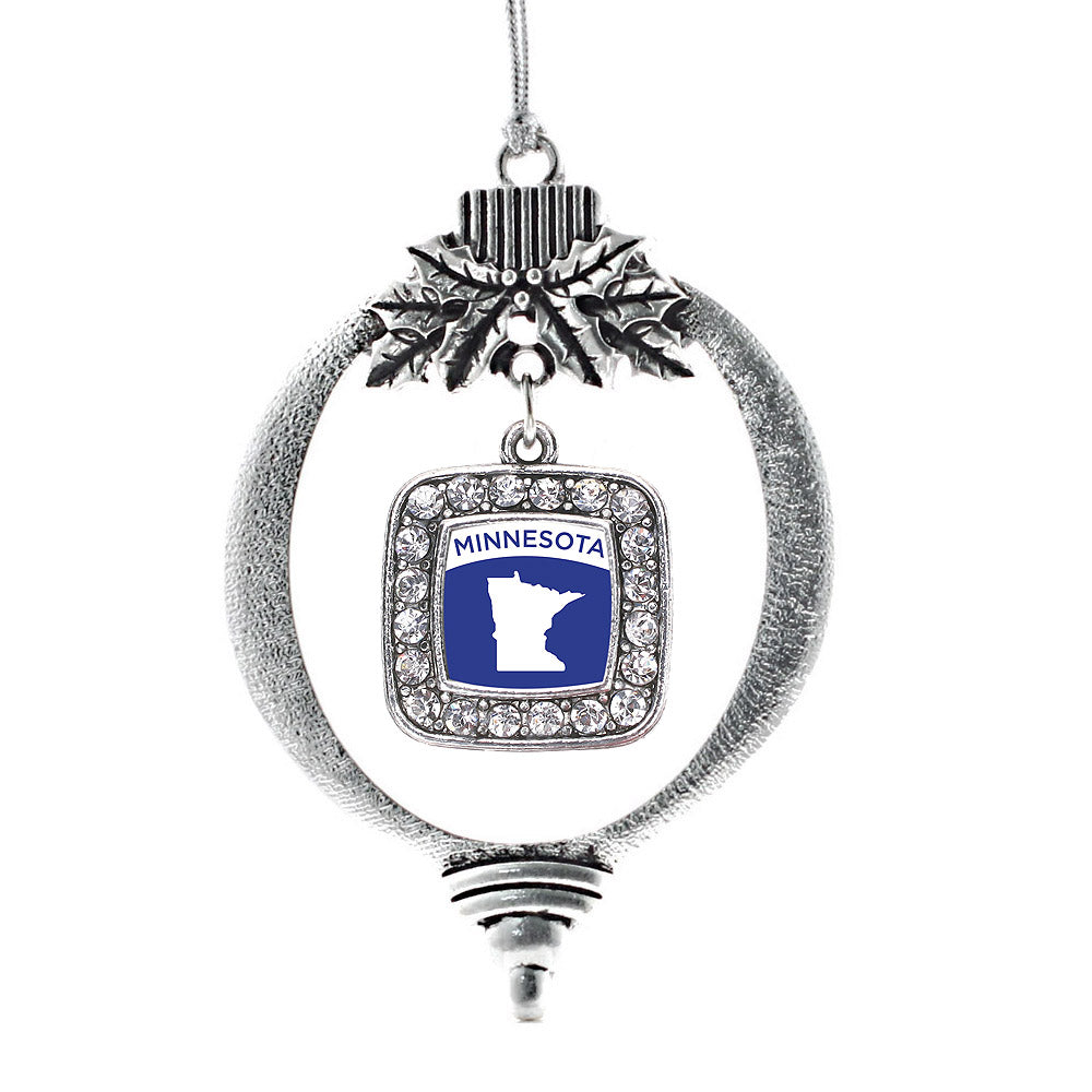 Minnesota Outline Square Charm Christmas / Holiday Ornament