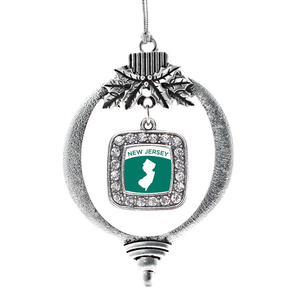 New Jersey Outline Square Charm Christmas / Holiday Ornament