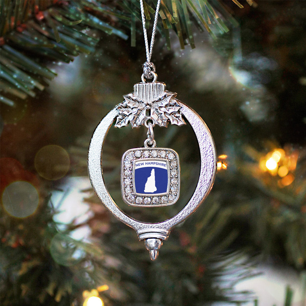 New Hampshire Outline Square Charm Christmas / Holiday Ornament