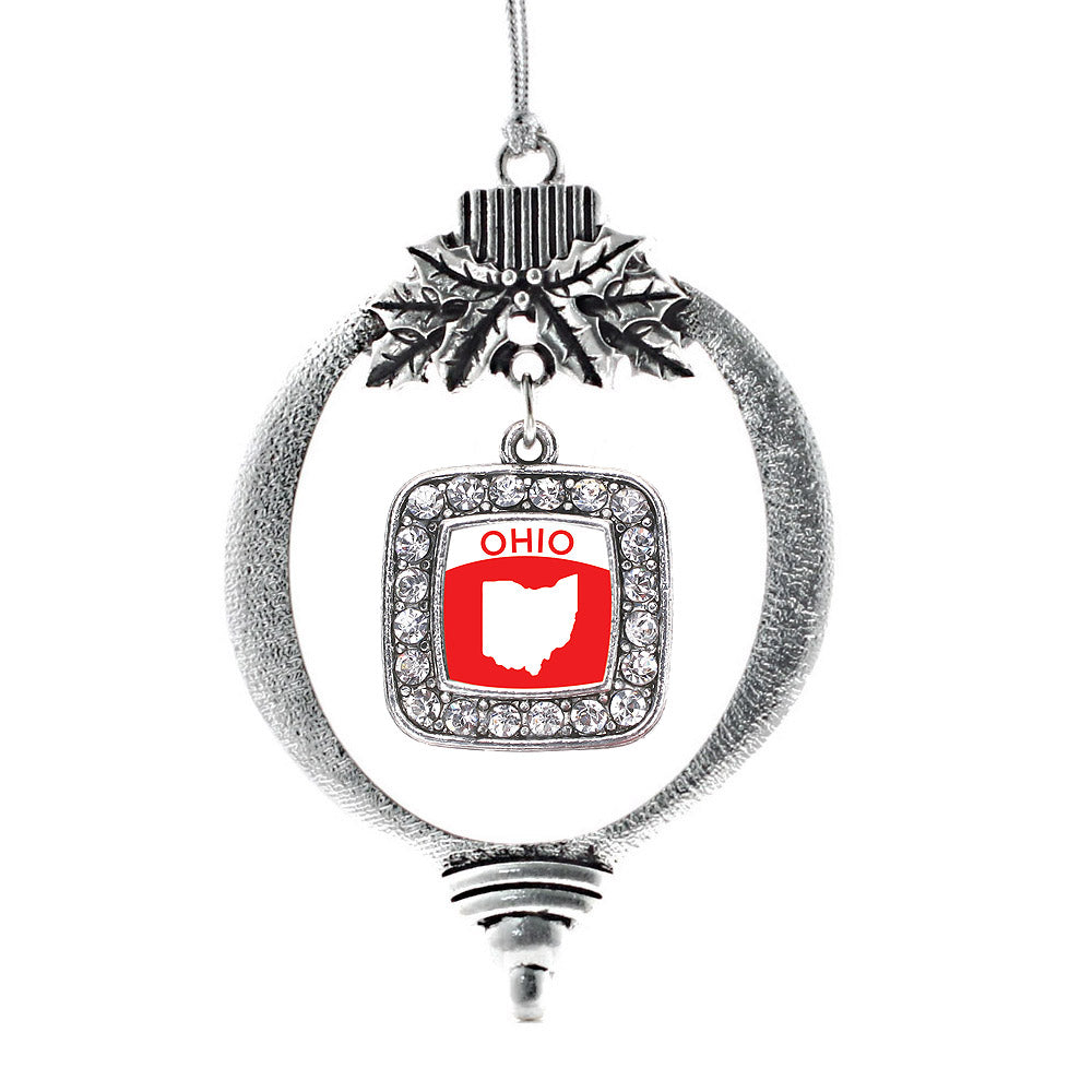 Ohio Outline Square Charm Christmas / Holiday Ornament