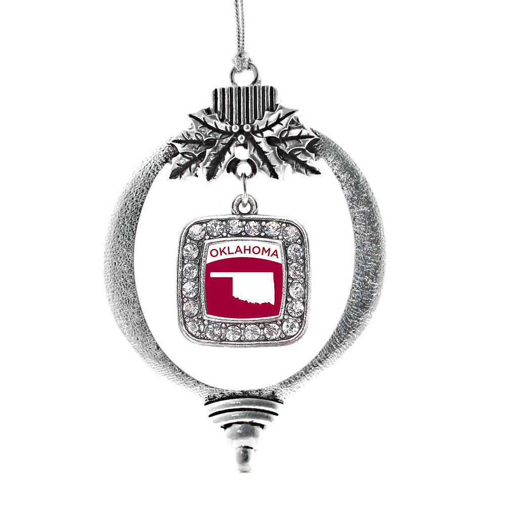 Oklahoma Outline Square Charm Christmas / Holiday Ornament