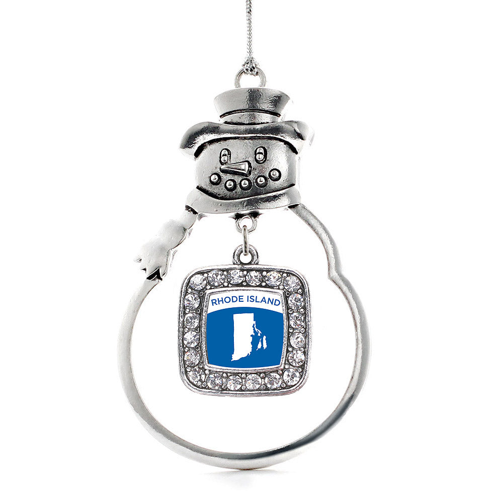 Rhode Island Outline Square Charm Christmas / Holiday Ornament
