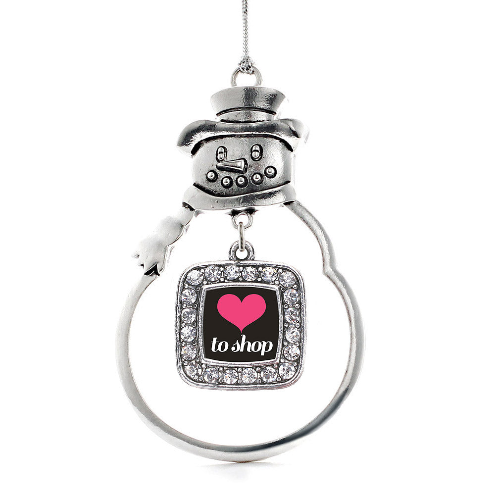 Love to Shop Square Charm Christmas / Holiday Ornament