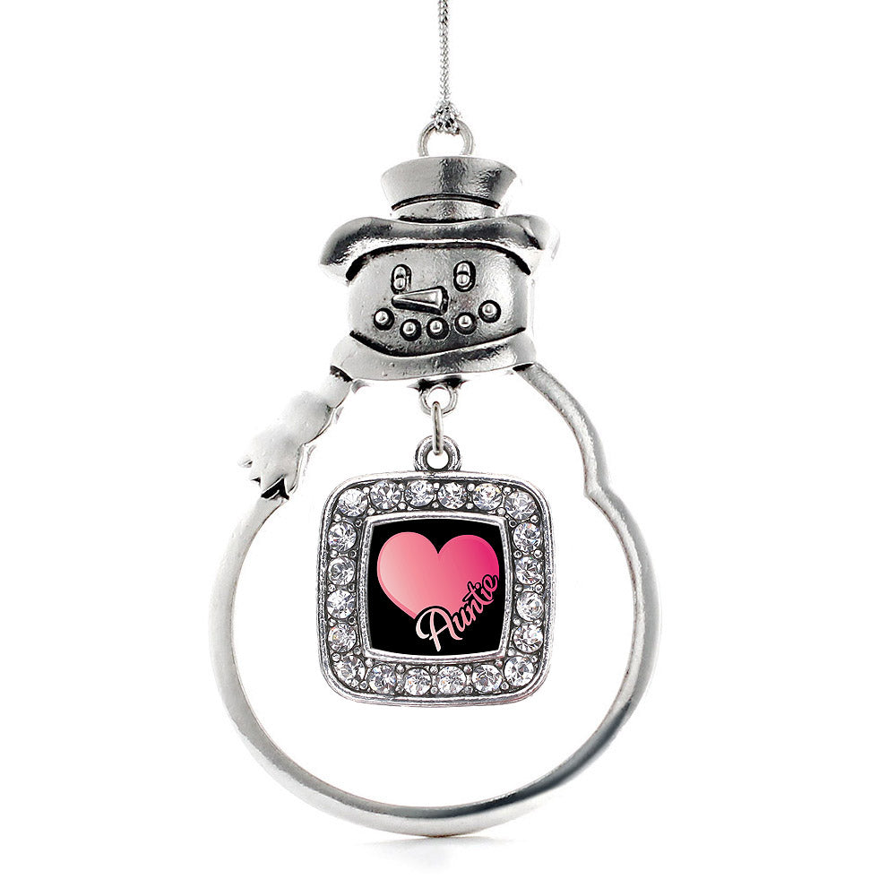 Auntie Square Charm Christmas / Holiday Ornament