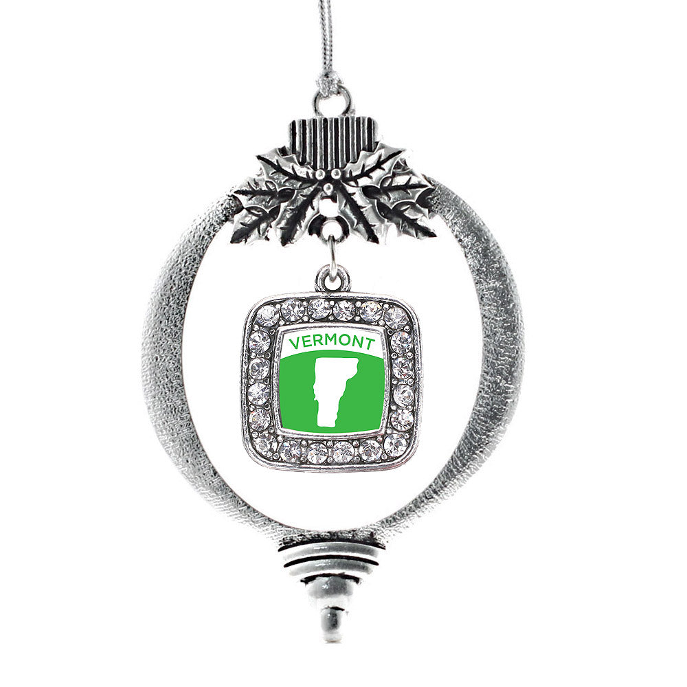 Vermont Outline Square Charm Christmas / Holiday Ornament