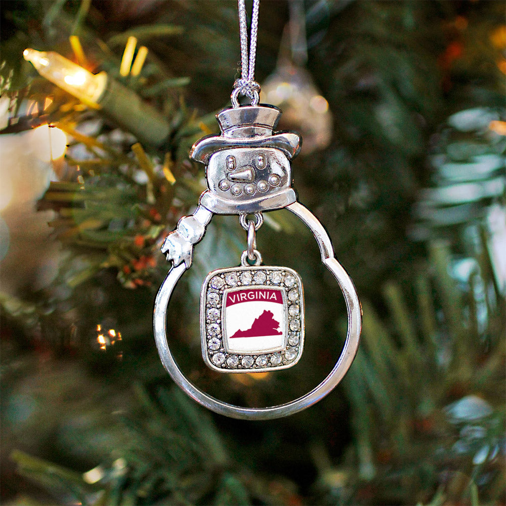 VIrginia Outline Square Charm Christmas / Holiday Ornament