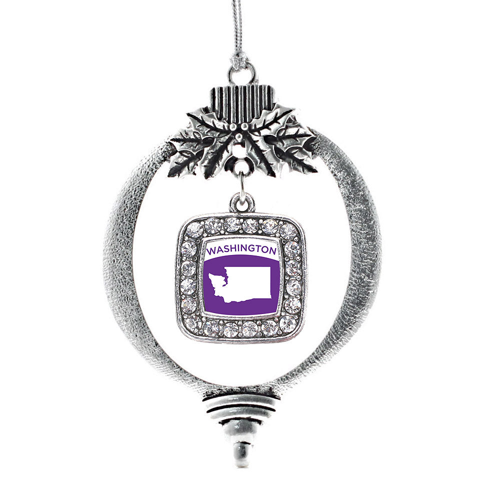 Washington Outline Square Charm Christmas / Holiday Ornament