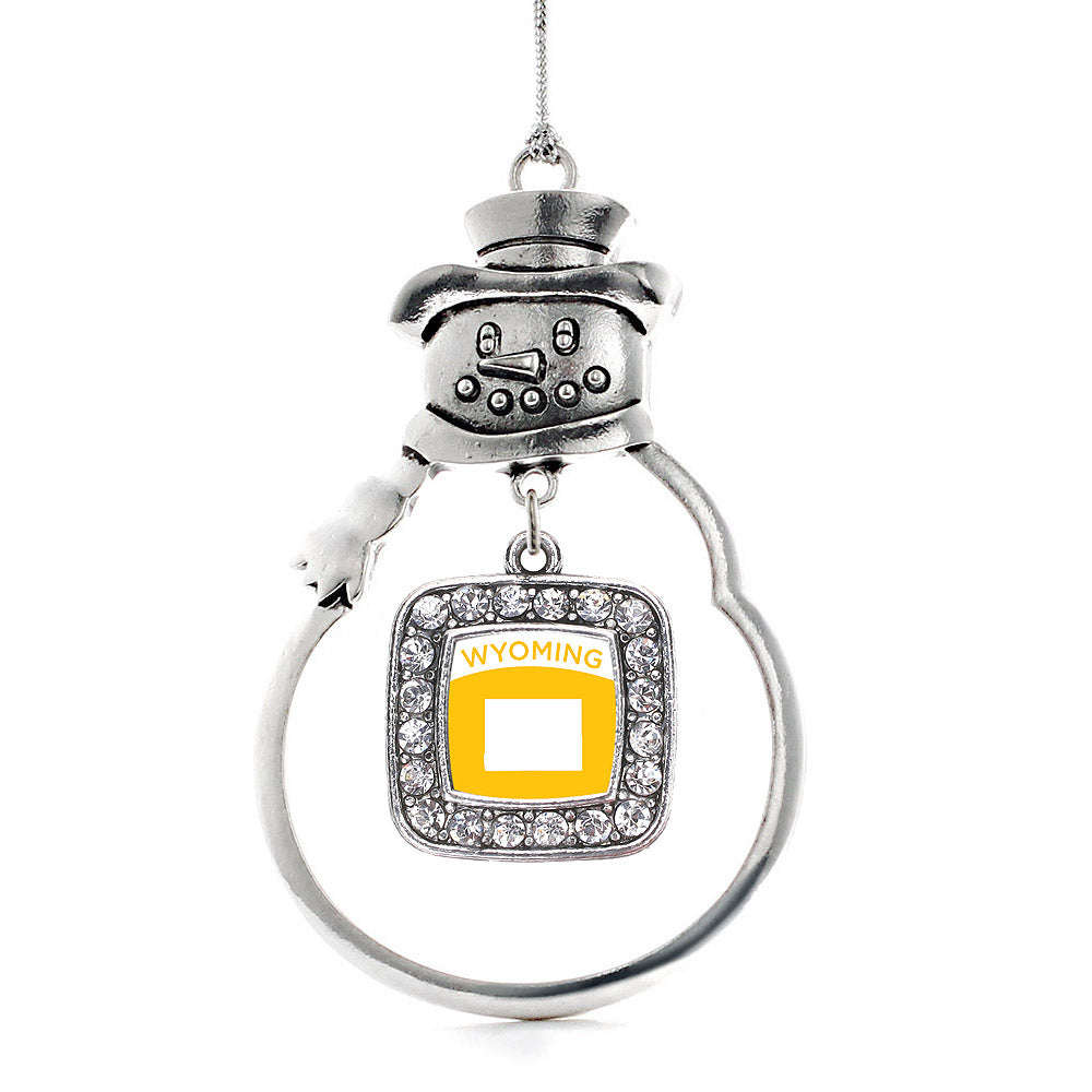 Wyoming Outline Square Charm Christmas / Holiday Ornament