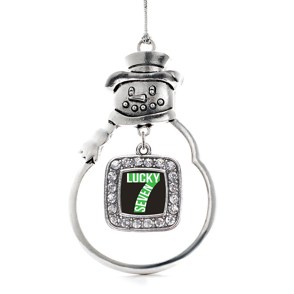 Lucky Seven Square Charm Christmas / Holiday Ornament