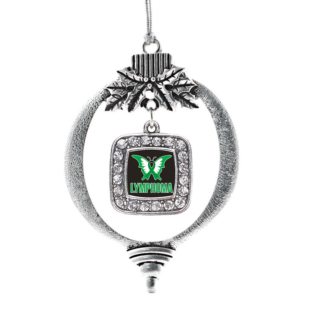 Lymphoma Support and Awareness Square Charm Christmas / Holiday Ornament