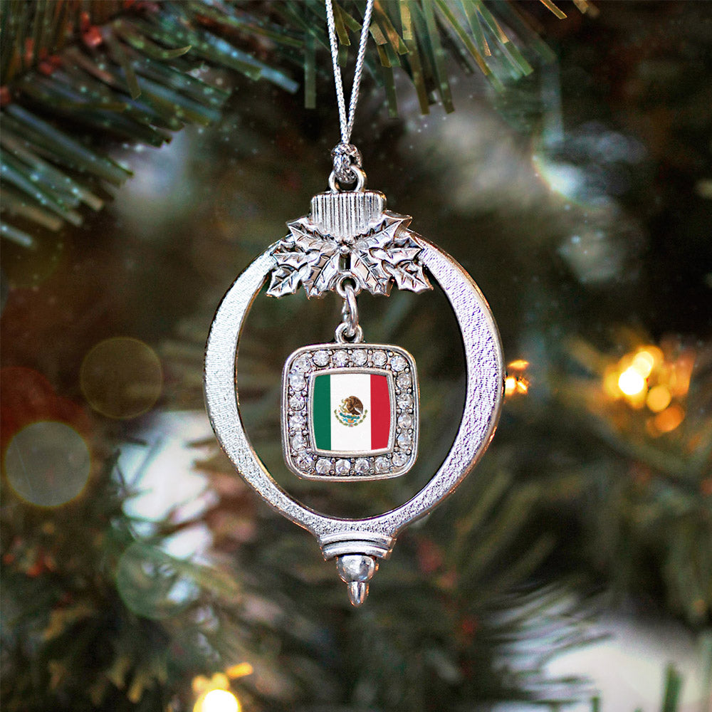 Mexican Flag Square Charm Christmas / Holiday Ornament