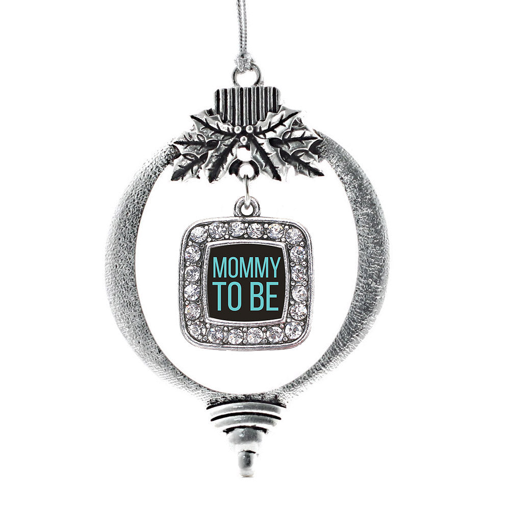 Mommy To Be Blue Square Charm Christmas / Holiday Ornament
