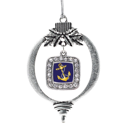 Navy Anchor Square Charm Christmas / Holiday Ornament